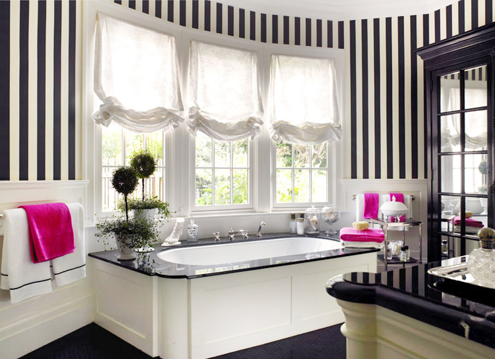 Spotted trend classic black white stripes awed by - Black and white striped wall ...